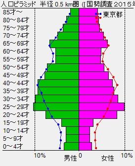 年齢別人口グラフでターゲット客層を調べる